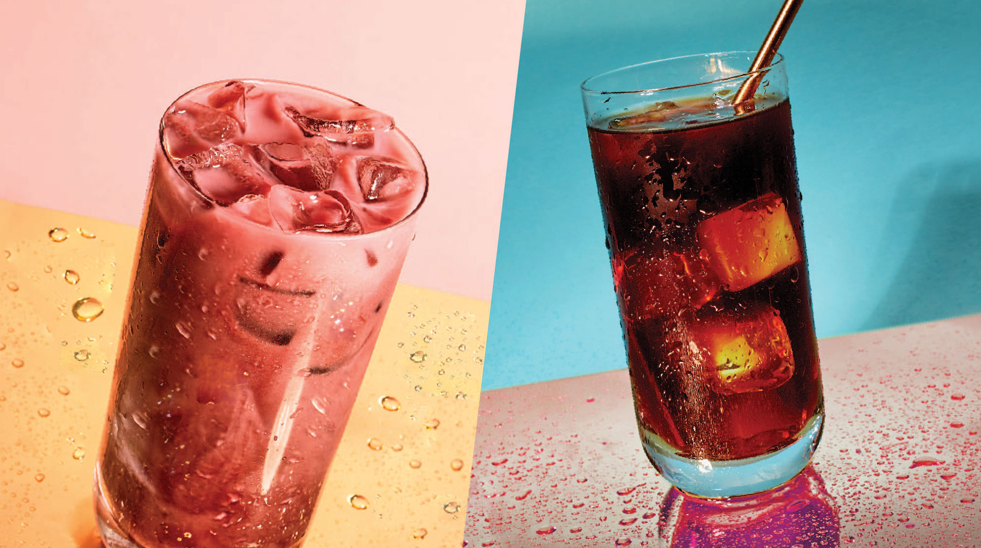 Two iced summer drinks